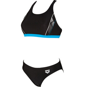 arena Skid Two Pieces Swimsuit Women black-turquoise-white